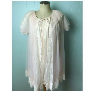 Vtg Women's Chiffon Peignoir Nightgown Set Size M